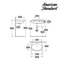 Jual Wastafel American Standard Wall Hung Lavatory Semi Pedestal 60cm Model La Vita 2
