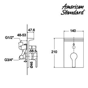 Dari Kran Shower Mixer American Standard Active in Wall Bath and SHower Mixing Valve 1