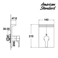 Jual Kran Shower Mixer American Standard Active in Wall Shower only Mixing Valve WF 2