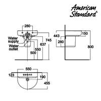 Jual Wastafel American Standard Concept D-SHape Lava with Pedestal 2