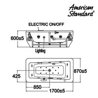 Jual Bathtub American Standard Imagine Tub 1.7 M Floor Standing with Wellness 2