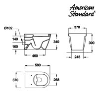 Jual Toilet American Standard Acacia Wall Hung Toilet + Axiss Smart Washer 2