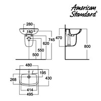 Jual Wastafel American Standard New Codie Square Lava wih Semi Pedestal  2