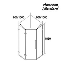 Jual Kaca Shower American Standard Shower Enclosure Pentagon Complete with Shower Tray 2