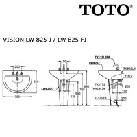 Jual Wastafel Toto LW 825 J or LW 825 FJ 2