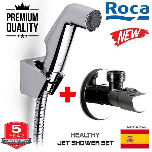 selang air Roca semprotan kloset modern + stop valve asli awet tdk mudah bocor
