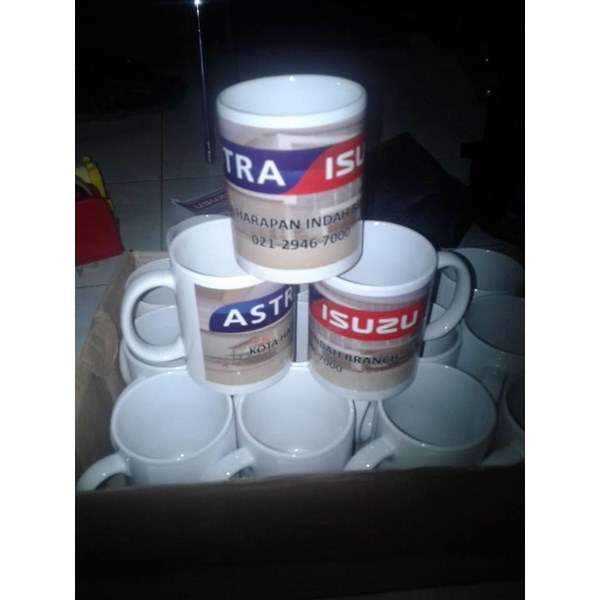 Mug Promosi Hot Press ( Mug Sublime ) Kemas Box Logo Stiker