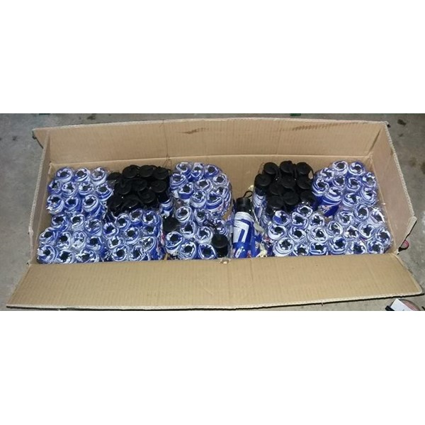 PAYUNG PROMOSI LIPAT 3 RANGKA CHROME HANDLE PLASTIK BIRU PUTIH