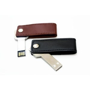 USB FLASH DISK SEMI KULIT SWIVEL COKLAT DAN HITAM 8 GB