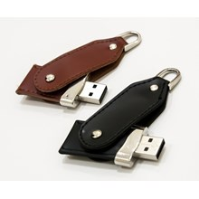 USB FLASH DISK BLACK and BROWN LEATHER SWIVEL 16 GB