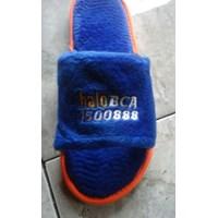 Jual Perlengkapan Hotel Sandal Bahan Velboa Logo Bordir 10 mm 2