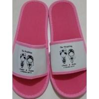 Perlengkapan Hotel Sandal Souvenir Pernikahan Alas Pink 4mm