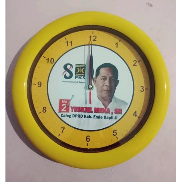 Jam Dinding  Promosi Parpol PKS kuning 30 cm