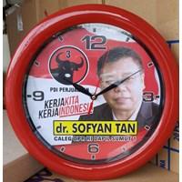 Jam Dinding Promosi Caleg Partai PDIP Ring Merah 30 cm