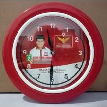Jam Dinding Body  Merah List Putih Partai Garuda 25 cm