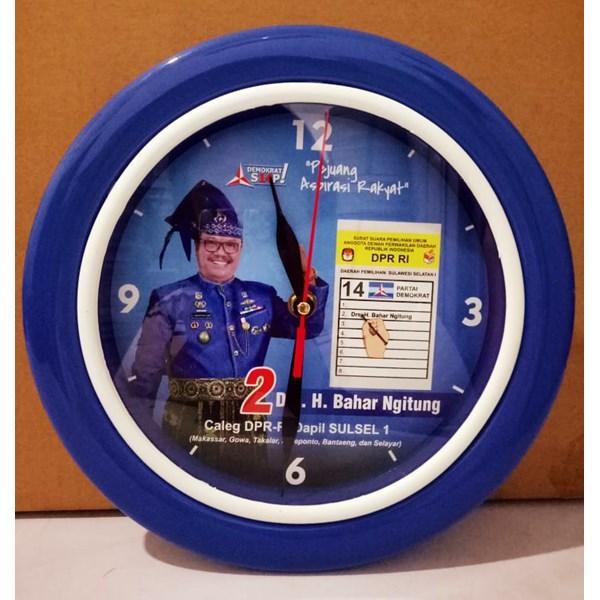 Jam Dinding Body Biru List Putih Demokrat 25 cm