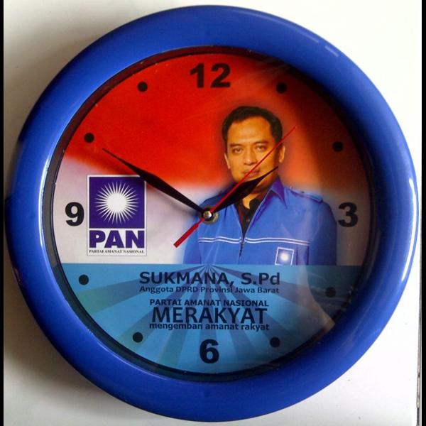 Jam Dinding Ring Biru Caleg Partai Pan 30 cm