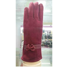 Thermal Touch Screen Women Gloves Ribbon Accents