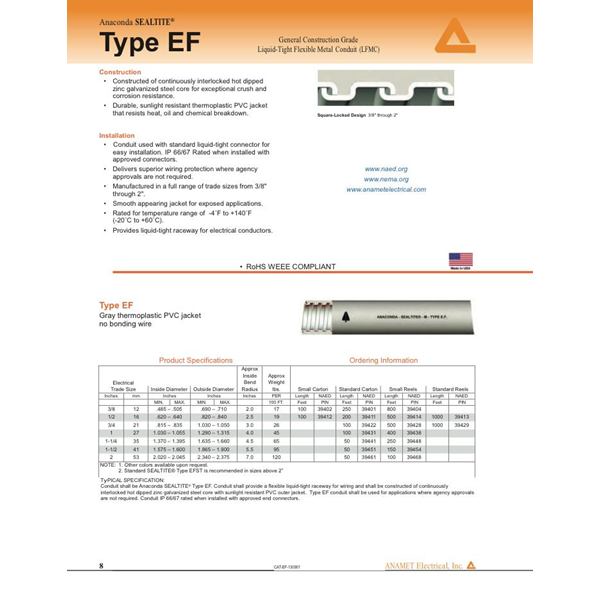 Flexible metal conduit Type EF Merk Anaconda