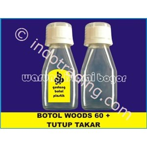 Botol Plastik Pet Model Sirup Obat Batuk Woods 60 Ml Bening