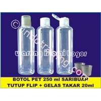 Botol Plastik Pet Boston Round (Br) Kemasan Minuman Sirup Cair 250Ml