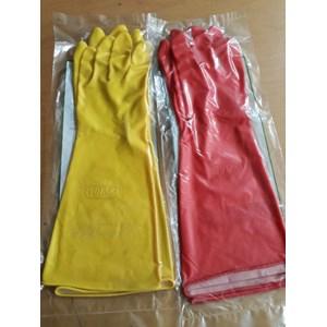 Sarung Tangan Karet Panjang Warna Merah dan Kuning