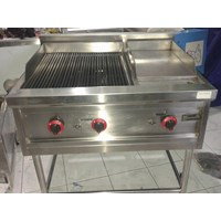 Gas Charcoal Gridle Kombinasi Stainless