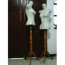 Mannequin  Half Body Women With Wood Support