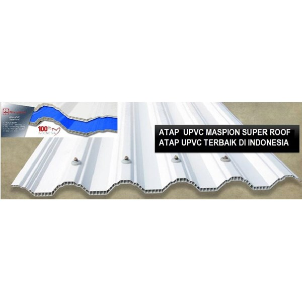 Atap UPVC MASPION SUPER ROOF Putih / Biru Doff