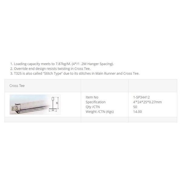 Cross Tee / Rangka Plafon Akustik 120 cm