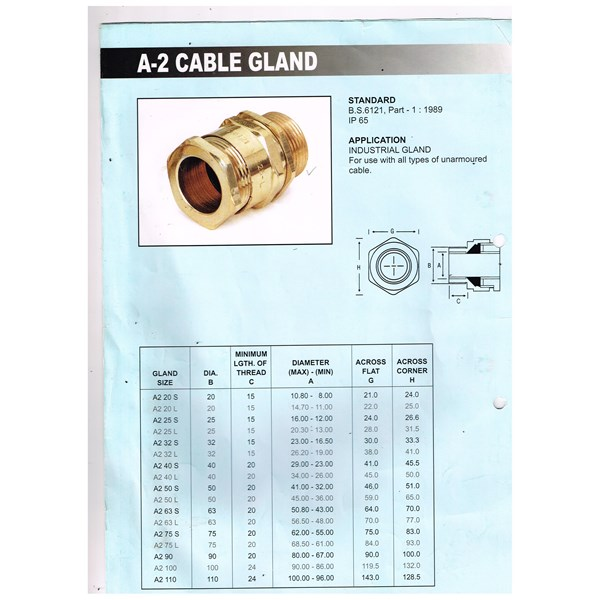 Cable Gland Unibell Type A 2 Unarmoured