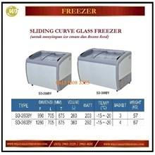 Pendingin / Penyimpan Es Krim / Sliding Curve Glass Freezer SD-260BY / SD-360BY Mesin Makanan dan Minuman Cepat Saji