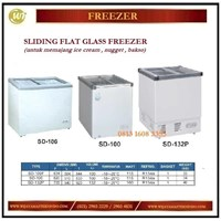 Pemajang Es Krim / Sliding Flat Glass Freezer SD-100 / SD-132P /SD-186 Mesin Makanan dan Minuman Cepat Saji