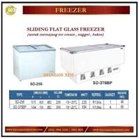 Pemajang Es Krim / Sliding Flat Glass Freezer SD-256 / SD-376BP Mesin Makanan dan Minuman Cepat Saji