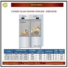 Lemari Pendingin & Pembeku / Combi Glass Door Cooler Freezer Q600-L2S / Q-1000-L4S / Q1600-L6S Mesin Makanan dan Minuman Cepat Saji