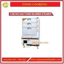Mesin Pengukus / 3 Decks Gas Turbo Blower Steamer 3DGFS-9082 Mesin Penghangat Makanan