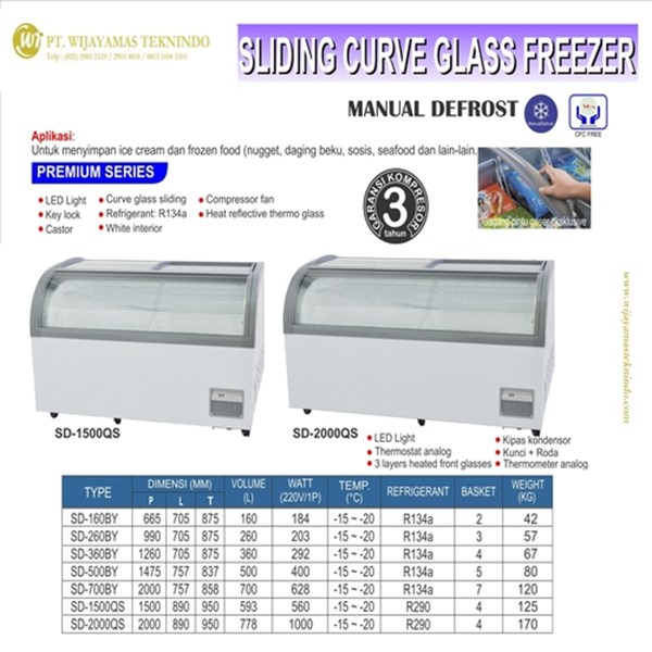 Sliding Curve Glass Freezer / Box Pendingin / Lemari Es Box SD-1500QS / SD-2000QS
