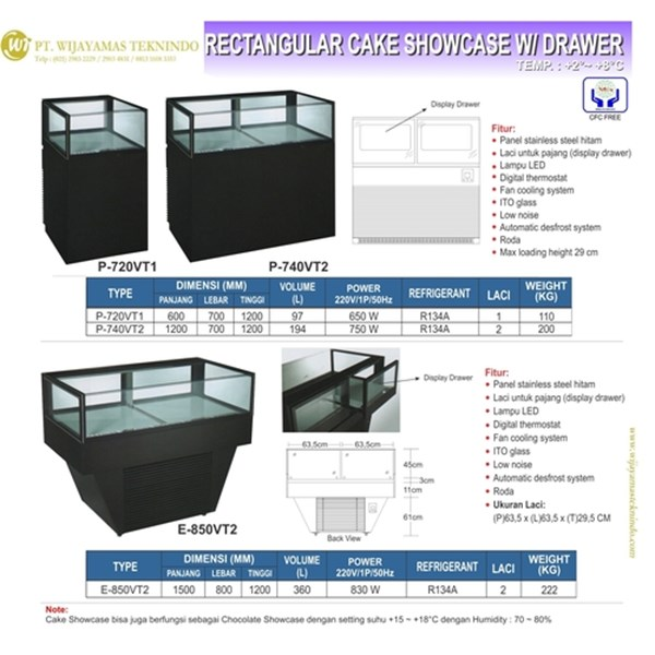 Cake Showcase Dengan 1 Laci / Showcase Refrigerator with Drawer / Rectangular Cake Showcase / P-720VT1 / P-740VT2 / E-850VT2