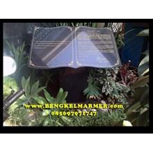 Contoh Ukiran Prasasti Peresmian Marmer Granit Hitam Model Buku