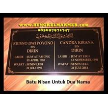 www.BENGKELMARMER.com Batu Nisan Makam Untuk Dua Nama Orang Almarhum Yang Meninggal