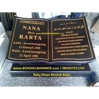 Jual www.BENGKELMARMER.com Plakat Prasasti Batu Nisan Makam Kuburan Model Bentuk Buku Alquran Islam Muslim Marmer Granit Hitam