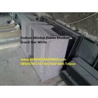 www.BENGKELMARMER.com Mimbar Podium Marmer Granite Star White Untuk Masjid Gereja Kantor