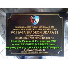 www.BENGKELMARMER.com Informasi Daftar Harga Contoh Pembuatan Plakat Prasasti Peresmian TNI Angkatan Darat Laut Udara POLRI Marmer Granit Hitam Terbaru Termurah Terlengkap