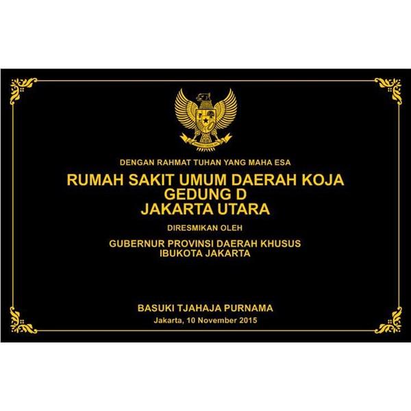 www.BENGKELMARMER.com Contoh Plakat Prasasti Peresmian Rumah Sakit Umum Daerah Marmer Granit