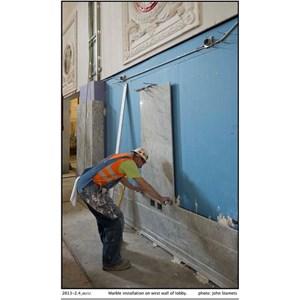 www.BENGKELMARMER.com Jasa Pasang Pemasangan Marmer Untuk Dinding Gedung Kantor di Kawasan Gatot Subroto Jakarta Selatan