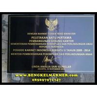 Jual www.bengkelmarmer.com Batu Prasasti Plakat Peresmian Presiden Kementerian Jakarta Selatan 2