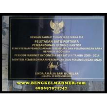 www.bengkelmarmer.com Batu Prasasti Plakat Peresmian Presiden Kementerian Bekasi