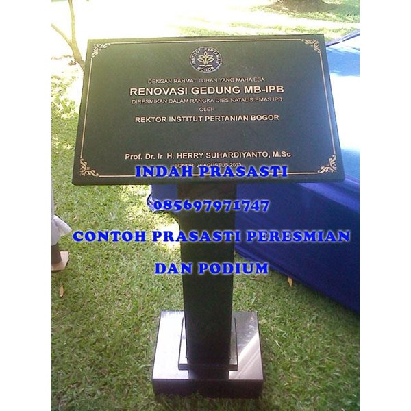 www.bengkelmarmer.com 085697971747 Meja Mimbar Standing Podium Plakat Batu Prasasti Peresmian Marmer Granit Untuk Acara Gedung Kantor Hotel Pabrik Bekasi