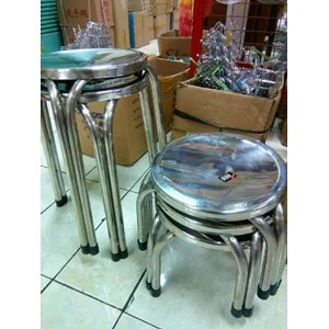 Kursi Tinggi Bulat Stainless Steel