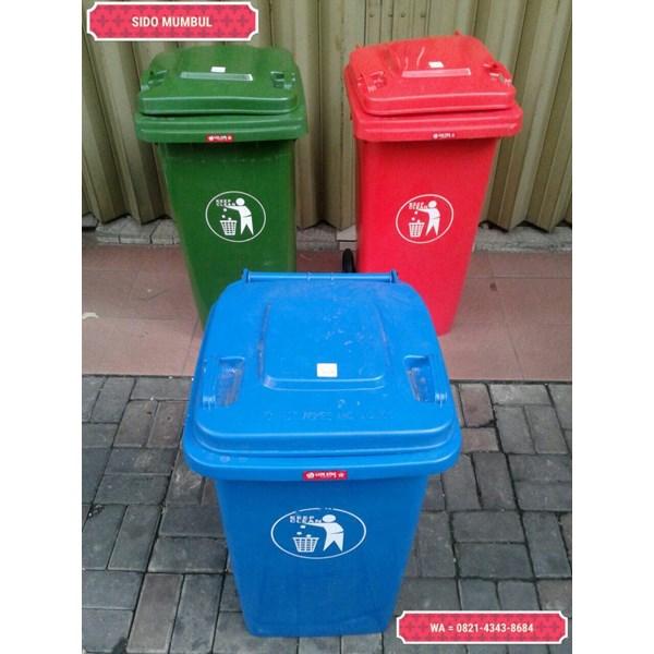 Tong Gerobak Sampah Bulat Segi Roda Plastik Taman Luar Ruangan Lion Star Maspion Green Leaf